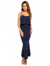 Navy blue Sleeveless Ruffled Spaghetti Straps Bodycon Dress