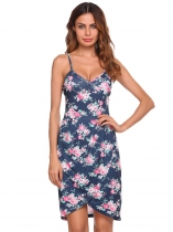 Blue Sleeveless Floral Asymmetrical Cami Dress