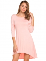 Misty Rose 3/4 Sleeve Solid Backless O Neck High-low Loose Dress