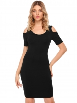 Black Sexy Short Sleeve O Neck Cold Shoulder Bodycon Dress