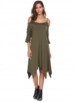 Army green Hollowed Out Sleeve Solid Asymmetrical Dress