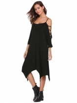 Black Hollowed Out Sleeve Solid Asymmetrical Dress