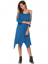 Blue Hollowed Out Sleeve Solid Asymmetrical Dress