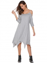 Gray Hollowed Out Sleeve Solid Asymmetrical Dress