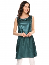 Green Solid Side Slit O-Neck Sleeveless Satin Tank Tops