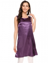 Purple Solid Side Slit O-Neck Sleeveless Satin Tank Tops
