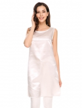 White Solid Side Slit O-Neck Sleeveless Satin Tank Tops