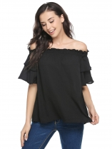 Black Solid Ruffle Off the Shoulder Loose Chiffon Blouse