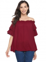 Dark red Solid Ruffle Off the Shoulder Loose Chiffon Blouse
