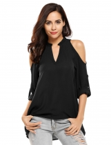 Black V-Neck Cold Shoulder Long Sleeve Solid Tops