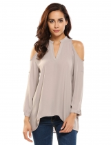 Gray V-Neck Cold Shoulder Long Sleeve Solid Tops