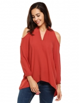 Wine red V-Neck Cold Shoulder Long Sleeve Solid Tops