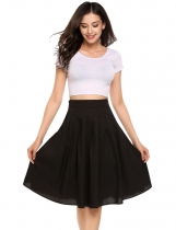 Black High Waist Knee Length Solid Pleated Skirt