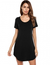 Black Casual Short Sleeve Solid O Neck Loose Mini Dress