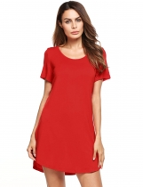 Red Casual Short Sleeve Solid O Neck Loose Mini Dress