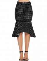 Black High Waist Polka Dot Hollow Fishtail Skirt