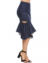 Navy blue High Waist Polka Dot Hollow Fishtail Skirt