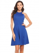 Royal Blue Casual Adjustable Spaghetti Straps Sleeveless A-Line Pleated Formal Dress