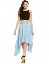 Blue Femelle Asymétrique Split Hem Pleated Fit et Flare Casual Skirt with Belt