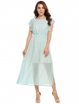 Mint Green Ruffle Sleeve Slit Hem Solid Chiffon Maxi Dress