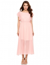 Light pink Ruffle Sleeve Slit Hem Solid Chiffon Maxi Dress