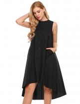 Black Round Neck Sleeveless Button Down Asymmetrical A-Line Dress