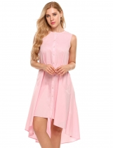 Pink Round Neck Sleeveless Button Down Asymmetrical A-Line Dress