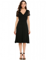Black Surplice Neck Lace Patchwork Short Sleeve Solid Pleated Dress