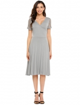 Grey Surplice Neck Lace Patchwork Short Sleeve Solid Pleated Dress