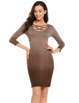 Coffee 3/4 Sleeve Gradient Above Knee Bodycon Dress