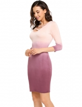 Nude 3/4 Sleeve Gradient Above Knee Bodycon Dress