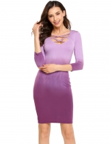 Purple Femmes Casual Cross U Neck 3/4 Sleeve Gradient Bodycon Mini-robe