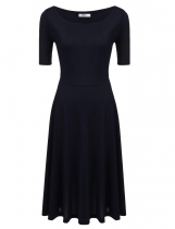 Navy blue Solid Elastic A-Line Pleated Hem Knitting Dress