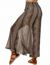 Dark brown Printed Elastic Waist Wide Leg Loose Chiffon Pants