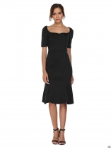 Black Square Neck Solid Mermaid Hem Dress