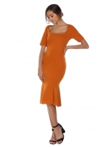 Apricot Square Neck Solid Mermaid Hem Dress