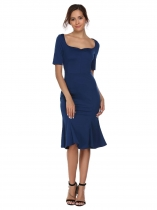 Blue Square Neck Solid Mermaid Hem Dress
