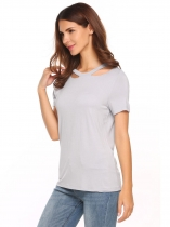 Grey Solid Ripped Destroyed Holes O Neck Short Sleeve Tops