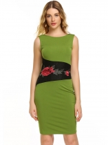 Green Sleeveless Embroidery Patchwork Pencil Dress