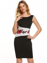 Black Sleeveless Embroidery Patchwork Pencil Dress