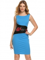 Blue Sleeveless Embroidery Patchwork Pencil Dress