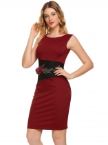 Wine red Sleeveless Embroidery Patchwork Pencil Dress