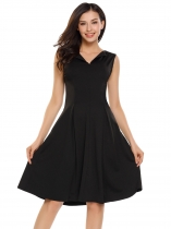 Black V-Neck Sleeveless Solid A-Line Pleated Dress