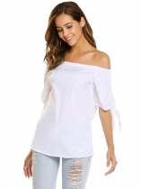 White Off the Shoulder Half Sleeve Solid Pullover Sexy Tops