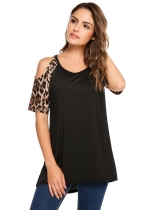 Black Cold Shoulder Leopard Sleeve Patchwork Loose T-shirt