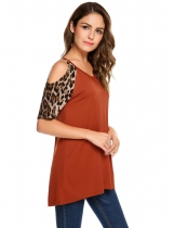 Coffee Cold Shoulder Leopard Sleeve Patchwork Loose T-shirt