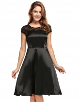 Black Vintage Style Short Sleeve Glitter A-Line Dress