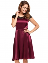 Wine red Vintage Style Short Sleeve Glitter A-Line Dress