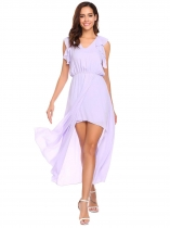Light purple V-Neck Sleeveless Ruffles Solid Split Long Chiffon Evening Dress