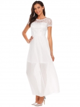 White V Back Lace Patchwork Pleated Maxi Dress
